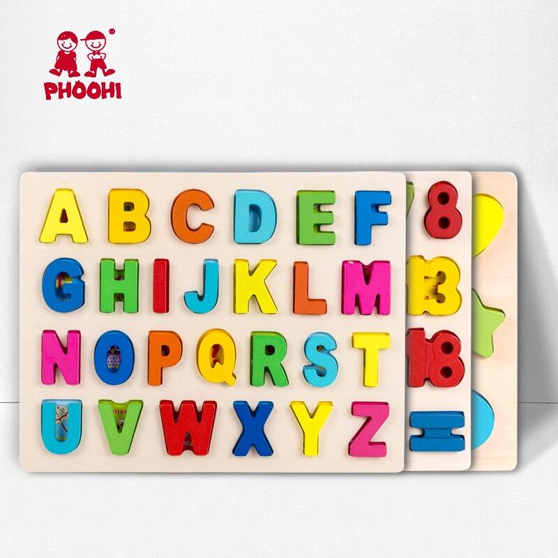 Crianças de madeira 3d alfabeto quebra-cabeça crianças letra capital geométrica digital brinquedo educacional para a criança phoohi