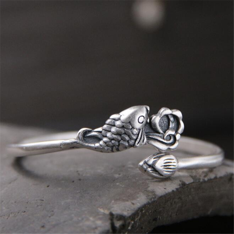 Chinese Traditional Thai Silver Vintage Lotus Fish Open Cuff bangle 999 Sterling Ethnic Jewelry 50mm Width 13.80G