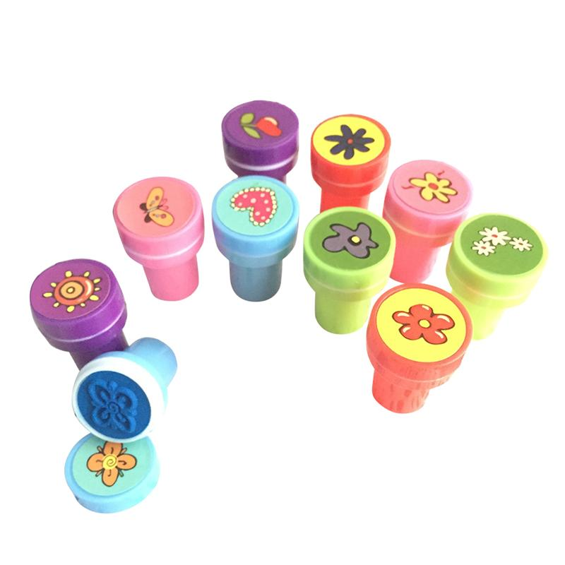 10Pcs Kids Cute Plastic Rubber Self Inking Stamper Toys Baby Birthday Gift Goodie Bags Toys Assorted Stampers (Flowers)