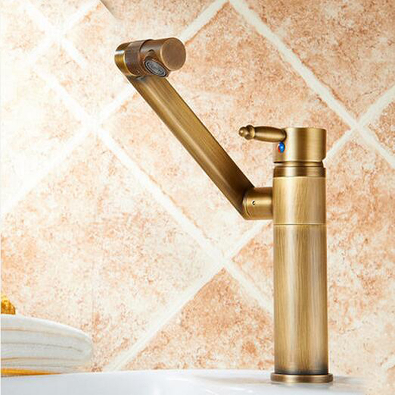 Wholesale And Retail Antique Brass Bathroom Basin Faucet Swivel Spout Vessel Sink Mixer Tap Undercounter Mixer Tap golden brass kitchen faucet dual handles vessel sink mixer tap swivel spout w pure water tap