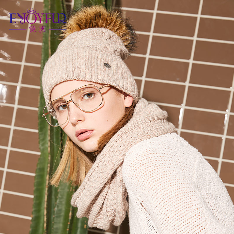 ENJOYFUR Fashion Winter Hat And Scarf Set Women Cashmere Hat Scarf Female  Thick Warm Fur Pompom Knitted Hats Lady Warps 2017-in Scarf 94bef8fcef
