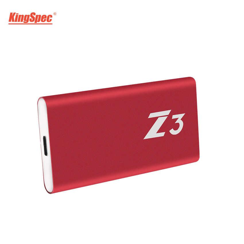 SSD 256 GB KingSpec Type-C USB 3.1 ภายนอก 256 GB SSD พร้อม JMS576 Controller สำหรับแล็ปท็อป Server เดสก์ท็อปแท็บเล็ต