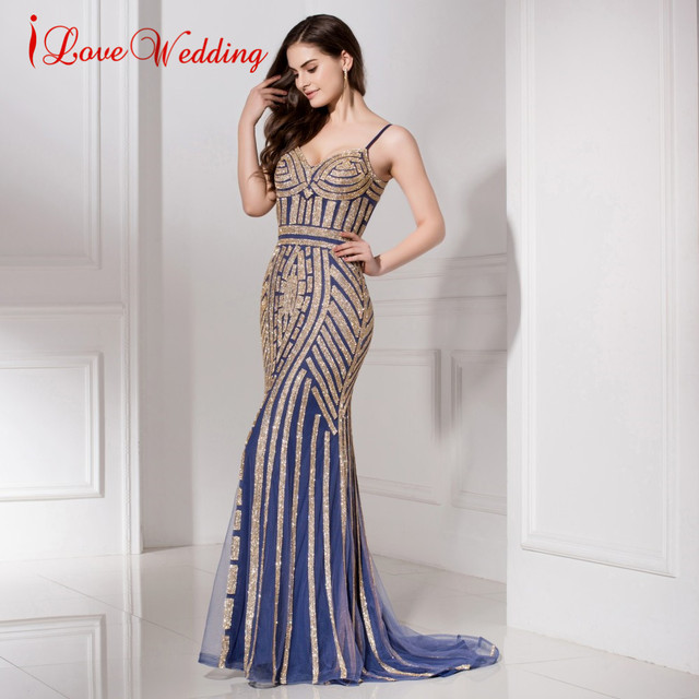 In Stock Mermaid Evening Dresses Crystal Beads Formal Party Gowns with Spaghetti  Strap Long robe de e0baa22087cc