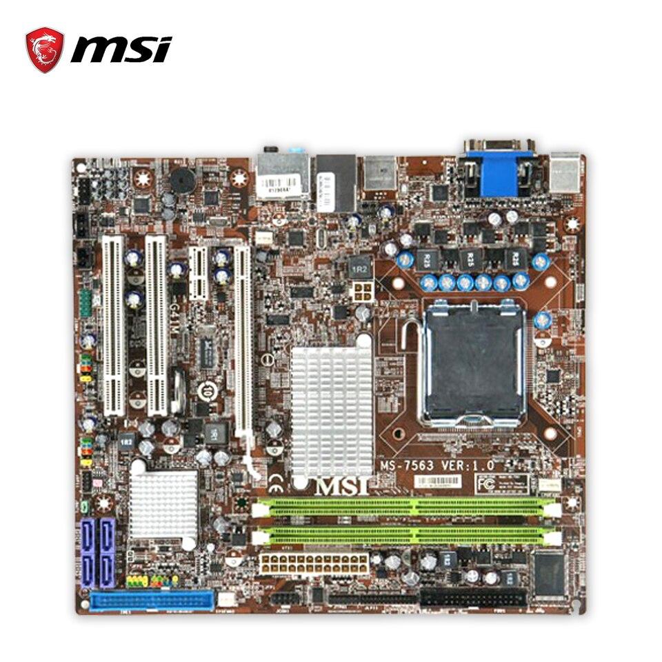MSI G41M-FD Original Used Desktop Motherboard G41 Socket LGA 775 DDR2 4G SATA2 USB2.0 Micro-ATX msi g41tm e43 original used desktop motherboard g41 socket lga 775 ddr2 8g sata2 usb2 0 micro atx