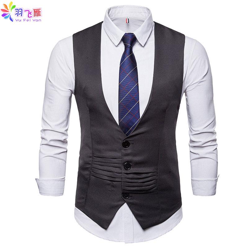 Yufeiyan 2019 Casual Vests Men Slim Fit Men's Vest White Formal Business Wedding Vest Waistcoat Men Gilet Homme Chaleco