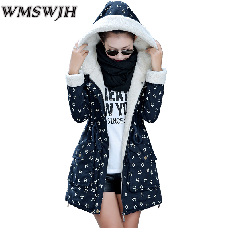 2017 Winter Jacket Women Cotton Coat New Korean version Long section Large Size Parkas Printed Slim Wool Plush Cotton Jacket factory outlets 2014 new winter in europe and america women british style stitching cotton quilted jacket short parkas coat