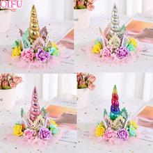 QIFU 1pcs Pink Golden Crown Birthday Party Decorations Kids Lace Flower Crown Unicorn Party Hats Silver Hair Accessories Crown