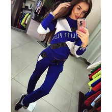 2019 new fashion casual patchwork spring 2Pcs Womens Tracksuit Hoodies Sweatshirt Pants SportWear