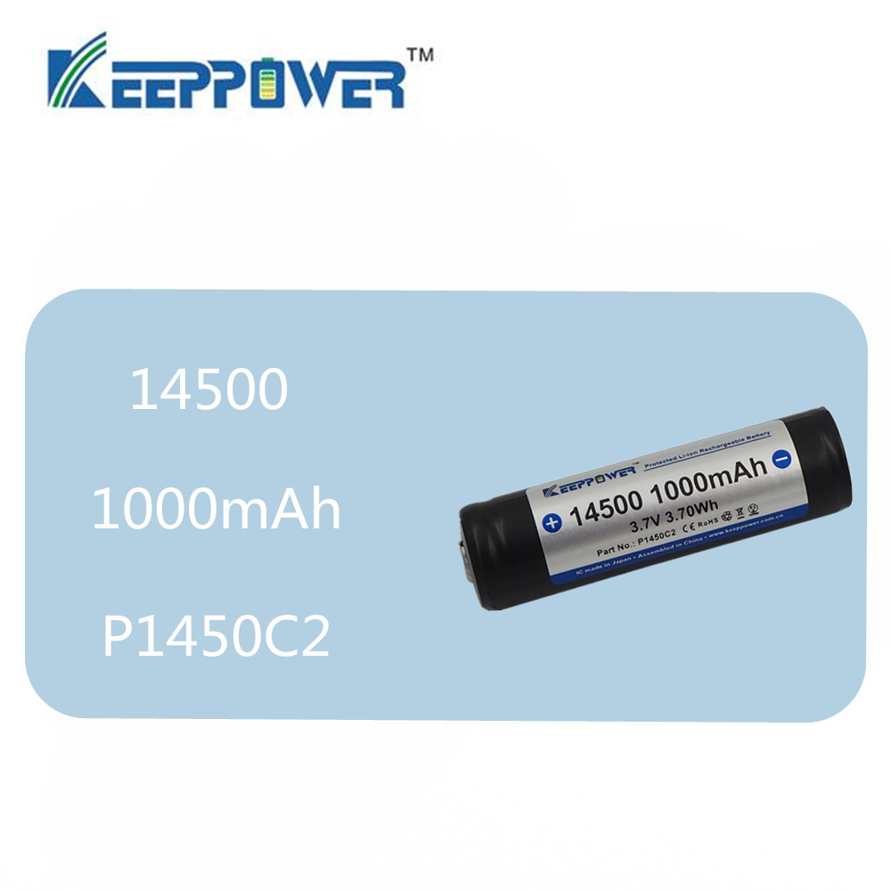 1pcs KeepPower 14500 battery 1000mAh 3.7V 3.70Wh Protected Rechargeable Lithium Battery Li-ion P1450C2 for flashlight vape image