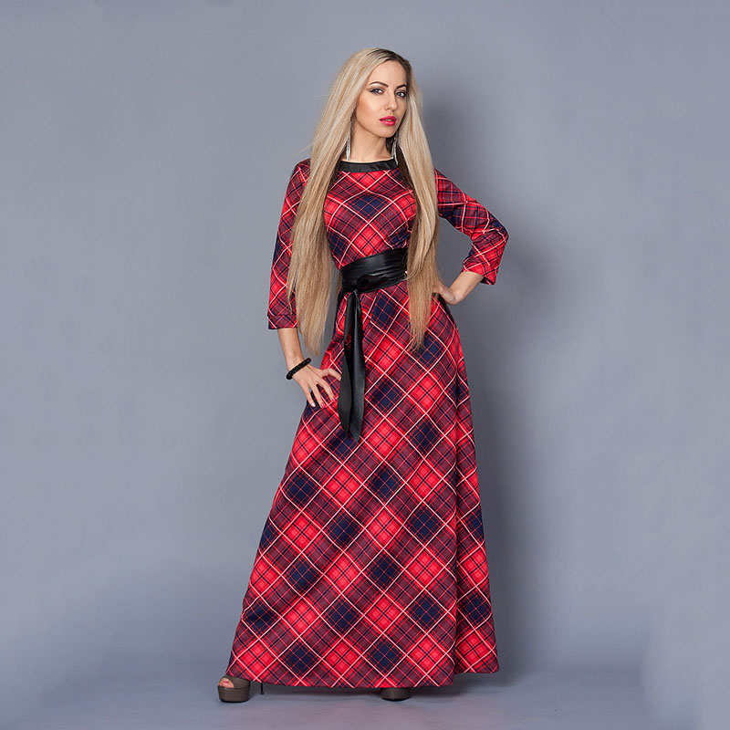 women winter dress vintage red plaid ankle length dress. Black Bedroom Furniture Sets. Home Design Ideas
