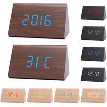 Цифровой деревянный USB светодиодный ночной Светильник будильник термометр дисплей часы набор