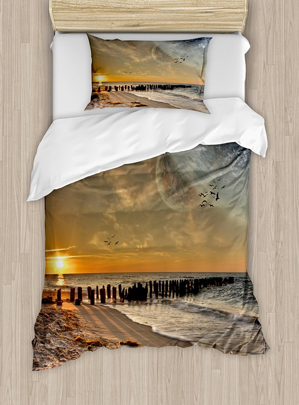 Space Duvet Cover Set Magical Solar Eclipse on Beach Ocean with Horizon Sun Moon Globe Gulls Flying View 4 Piece Bedding Set