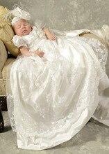 Коллекция 2019 года, высокое качество, платье на крестины для маленьких девочек, платье для крещения белого цвета и цвета слоновой кости для маленьких девочек и мальчиков с повязкой на голову, от 0 до 24 месяцев