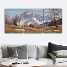 Laeacco 3 Panel Mountain Wall Art Winter Posters and Prints Classic Canvas Calligraphy Painting Home Living Room Decor