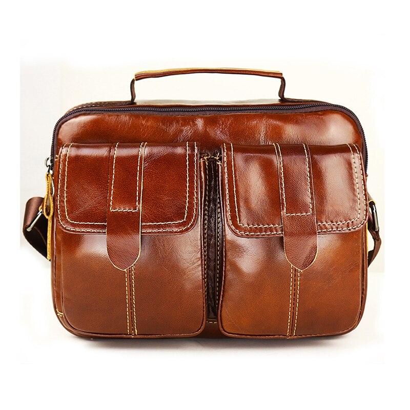 2019 Men Genuine Leather Business Bag Men\'S Fashion Cowhide Briefcase Bag Shoulder Bag Male Retro Messenger Bag Totes Handbag