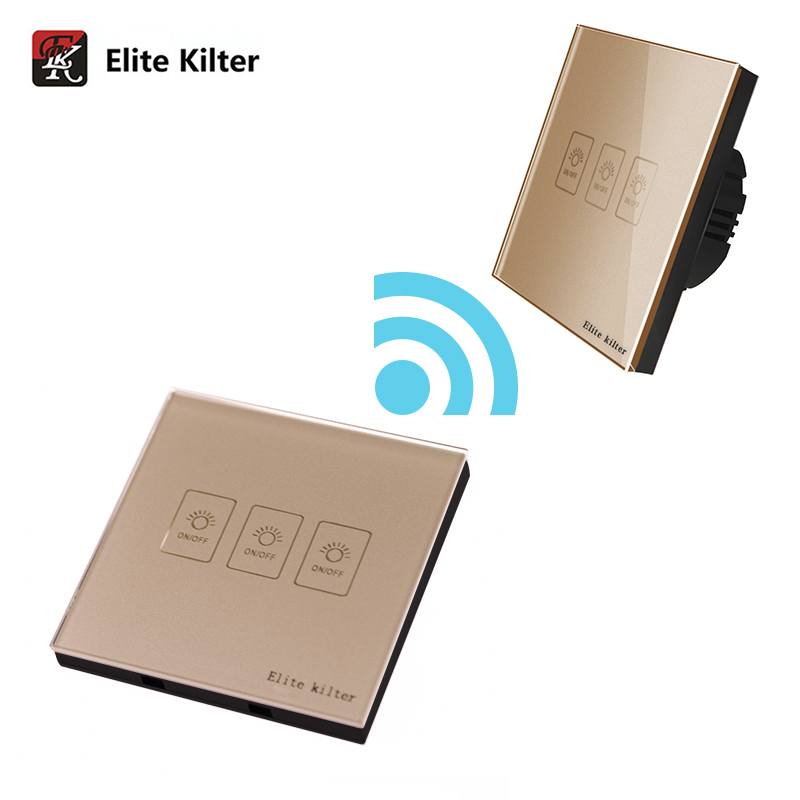 Elite Kilter EU Standard 3Gang 2Way Remote Control Wall Light Touch Switch Crystal Glass Panel 170-240V Capacitive Touch Switch wall light touch switch 2 gang 2 way wireless remote control power light touch switch white and black crystal glass panel switch