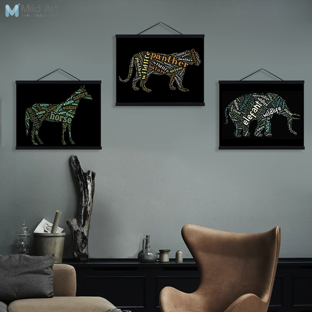 Us 8 97 47 Off Black Typography Abstract Animals Deer Living Room Wooden Framed Canvas Painting Home Decor Wall Art Print Picture Poster Scroll In