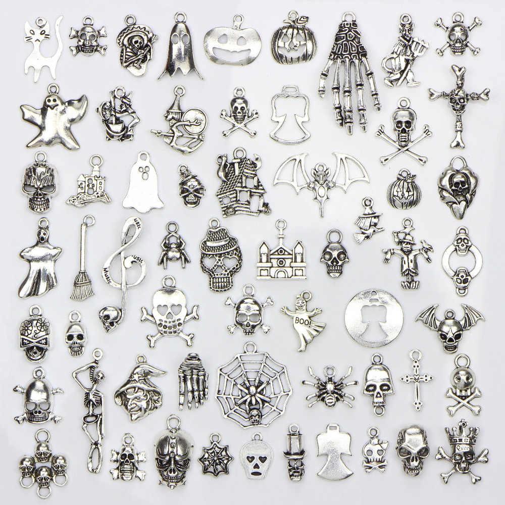 מגוון 60 עיצובים ליל כל הקדושים קסמי גולגולת שלד יד עכביש בת Ghost מכשפה תליוני DIY ליל כל הקדושים תכשיטי ביצוע 60 יח'\שקית