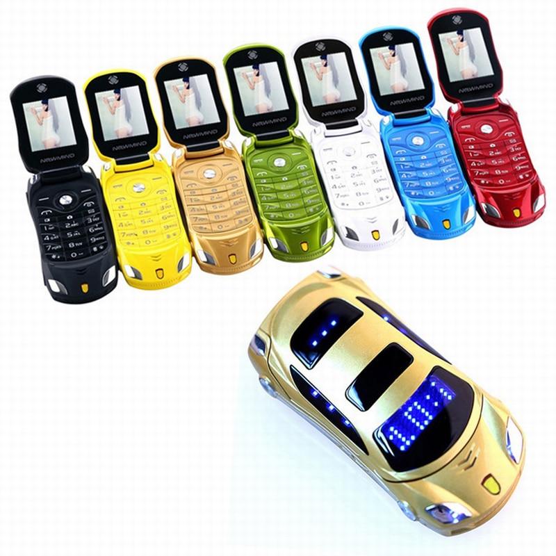NEWMIND Flip F15 MP3 MP4 SMS MMS Câmera Rádio FM Lanterna Dual SIM Cards Celular Pequeno modelo de Carro Mini Mobile telefone P431