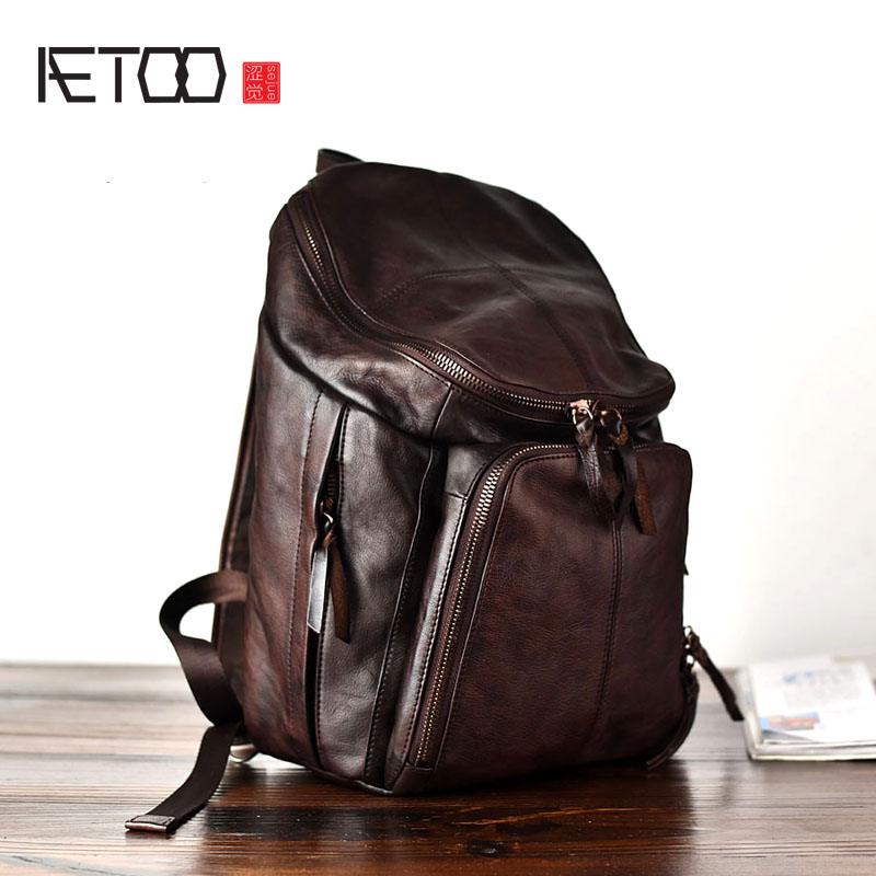AETOO Original handmade retro style personality leather leather shoulder wrapped tanned leather front large capacity backpack joan escandell handmade illustration 1 000 retro style drawings
