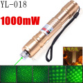 018 Laser set 1000mW green laser pointer starry image light match Golden style include 18650 battery and charger 305 green red