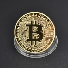 Gold Plated Hot sale Bitcoin Coin Bit Coin Metal Coin Physical Cryptocurrency Commemorative Coin 40mm america president donald trump commemorative coin gold plated colorful metal coin with plastic case