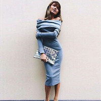 1 PC Hot Selling Women Girls Sexy Off Shoulder Autumn Winter Dress Long Sleeve Stretch Bodycon