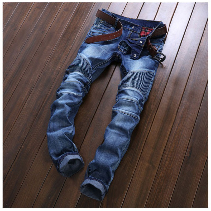buy pleated men denim jeans pants famous brand washed ripped jeans fashion. Black Bedroom Furniture Sets. Home Design Ideas
