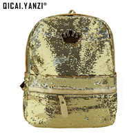 2016 Fashion Cute Girls Sequins Backpack Womens Paillette Leisure School BookBags Free Shipping Top Quality P110
