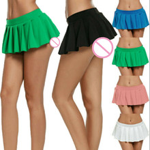 Womens Sexy Dance Mini Skirt 2019 New School Girl Cheer Leader Pleated Skirt Lingerie Fashion Ladies Party Club Wear(China)