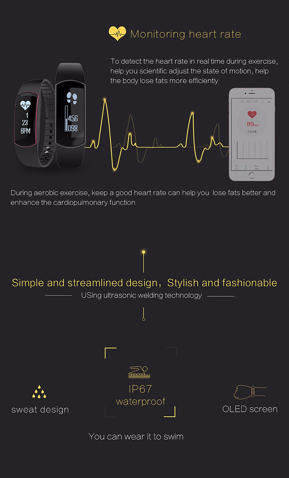Smart band Bracelet IP67 Heart Rate Monitor Sport Fitness Tracker for Android iOS smartphone (8)