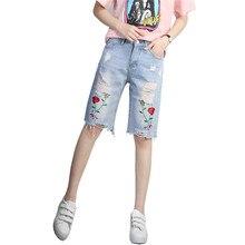 2017 Rose Embroidery Capris Jeans Shorts Women Knee Length Denim Ripped Jeans For Women Pants Summer Short Femme Trousers C3368