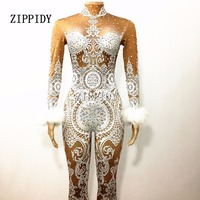 Sexy White Lace Nude Rhinestone Jumpsuit Female Singer Sexy Stage Wear Bodysuit One Piece Costume Glisten