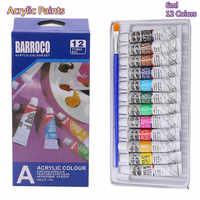 Набор профессиональных акриловых красок, 6 мл, 12 цветов, ручная краска, трубы для рисования стен, пигментные краски для художника, Бесплатная...