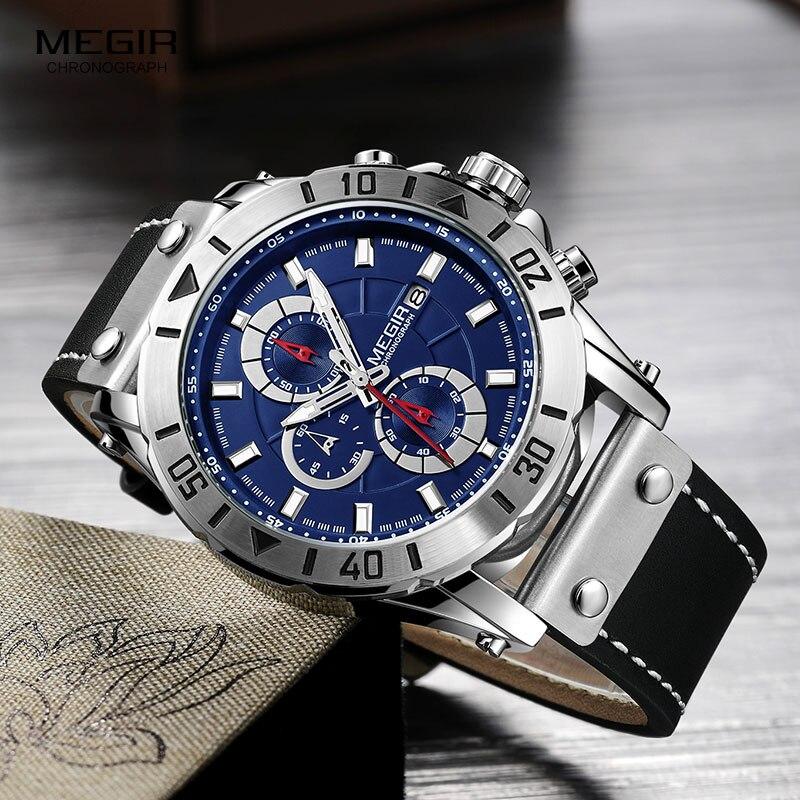 Megir Men's Chronograph Quartz Watches Leather Strap Army Sports Wristwatch for Man Clock Relogios Masculino Waterproof 2081Blue все цены