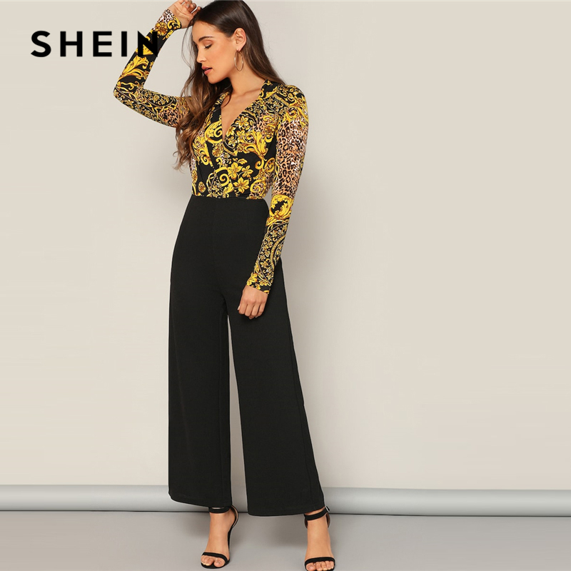 SHEIN Multicolor Surplice Wrap Scarf Print Skinny   Jumpsuit   Casual 2019 Spring V neck Mid Waist Streetwear Women   Jumpsuits