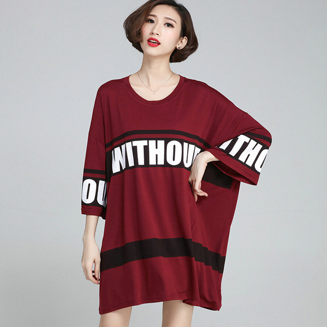 Fashion Women Oversize T-shirt Tops Summer Ladies Letter T Shirt Dress 2016  Casual Plus Big Size Gray Red Tee Shirt Femme A335 5c4cddb3c3