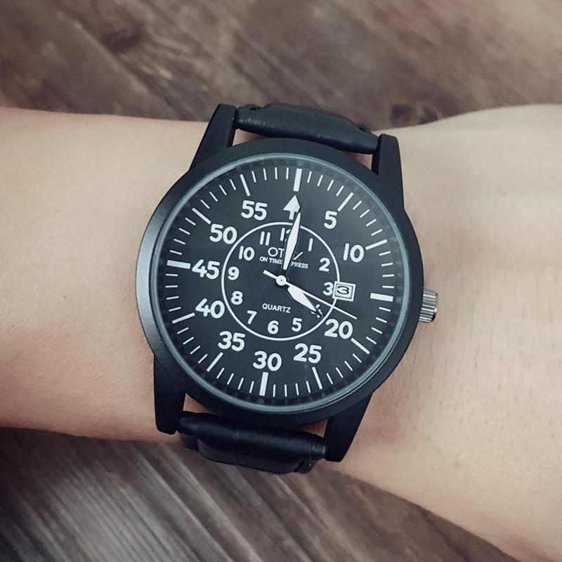 luxury brand quartz font b watch b font Casual Fashion Leather font b watches b font
