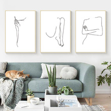 Abstract Sexy Women Body Canvas Painting Wall Art Geometric Poster Pop Nordic Pictures For Living Room Unframed