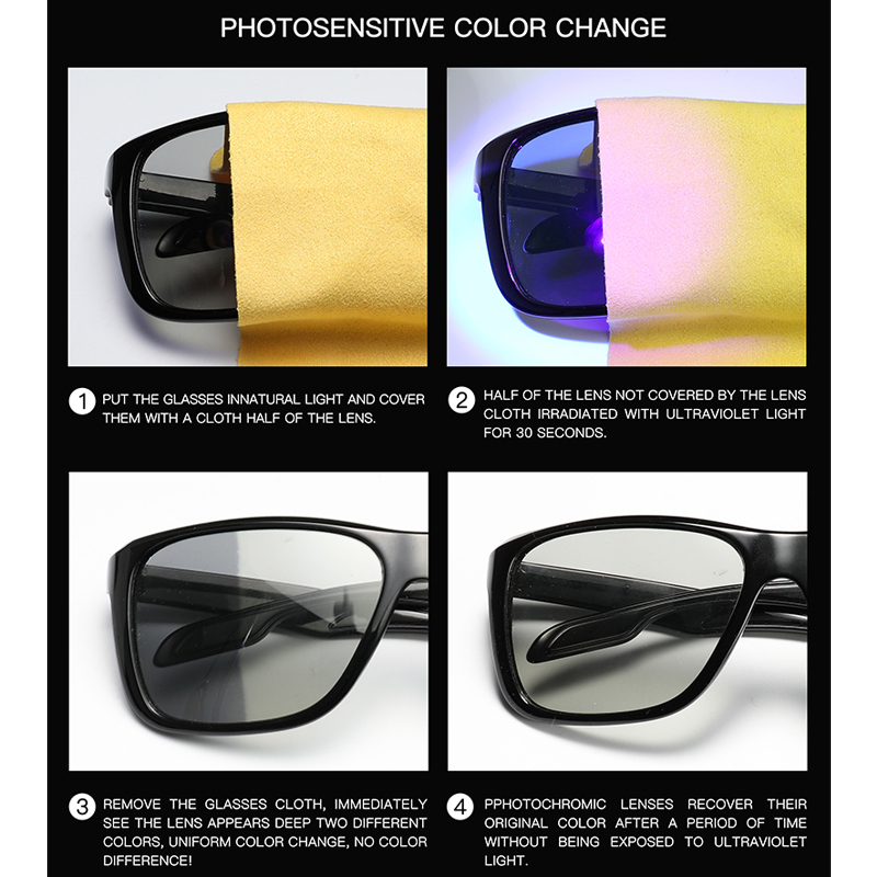 c151ad8f97 New Polarized Photochromic Sunglasses Men Square Transition Lens Driving  Sun glasses Anti glare Gafas For Men UV400 Male Eyewear-in Sunglasses from  Apparel ...