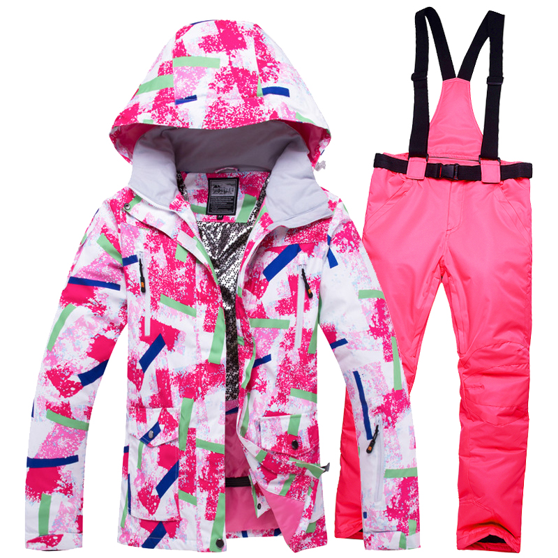 2018 WELIVENICE Winter Pink Snow Skiing Jacket Ski Suit Snow Clothes Windproof Waterproof Clothes And Pants Snowboard ets2018 WELIVENICE Winter Pink Snow Skiing Jacket Ski Suit Snow Clothes Windproof Waterproof Clothes And Pants Snowboard ets