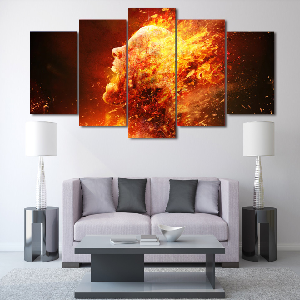 HD Printed Burning Man Art 5 piece canvas art Painting wall art room decor print poster picture canvas Free shipping/ny-1276