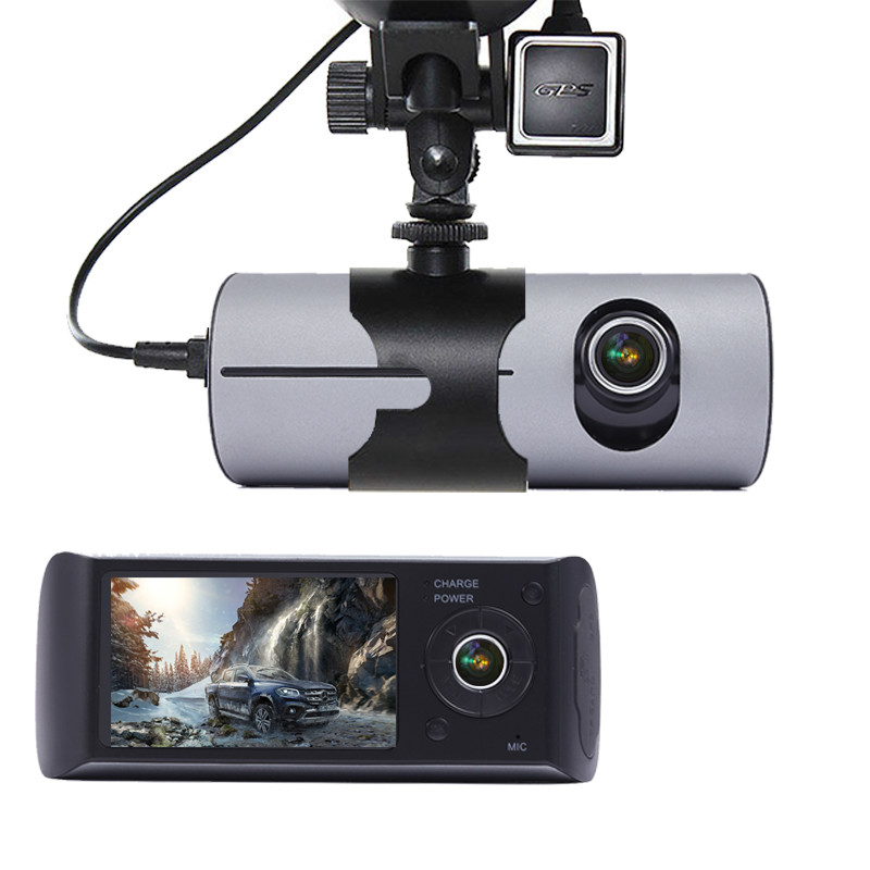 Camera Car DVR R300 with GPS and 3D G-Sensor LCD X3000 Cam Video Camcorder Cycle Recording Digital Zoom Dash Cam Dual Lens(China)