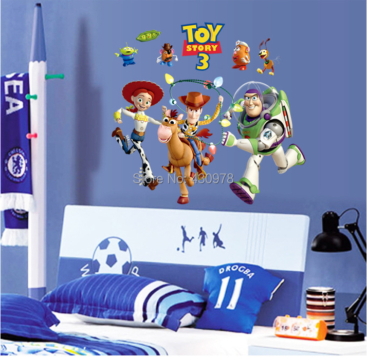 Wholesale Cartoon Wallpaper Childrenu0027s Room Decal Toys Story Wall Stickers  Buzz Free Shipping DF9912(China Part 49