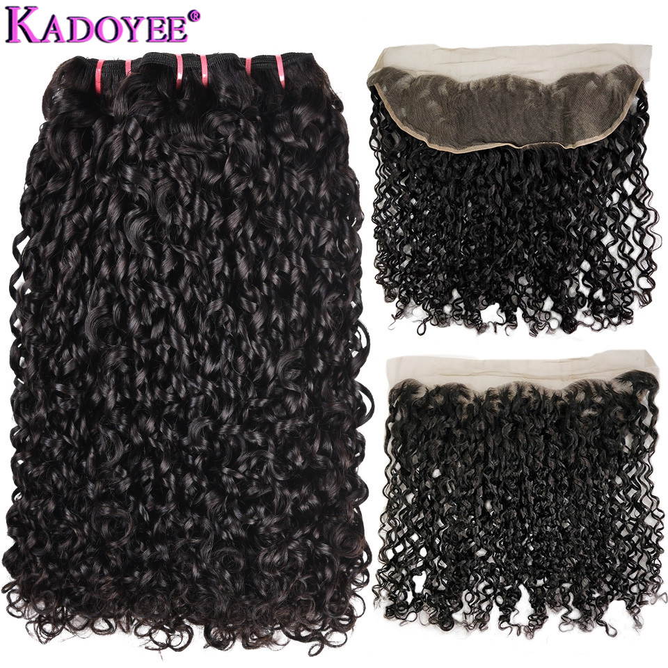 Double Drawn Funmi Hair Weave 3+1 Bundles With 13x4Lace Frontal Closure Pissy Curl Pixie Flexi Curly Remy Human Hair Extensions