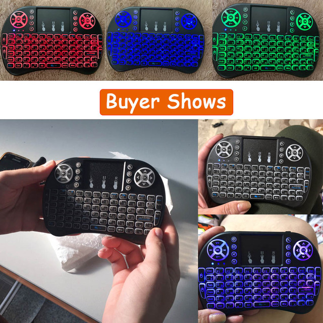 7 Color Backlit I8 Mini Spanish Wireless Keyboard Mouse 2 4ghz USB Keyboard for Laptop