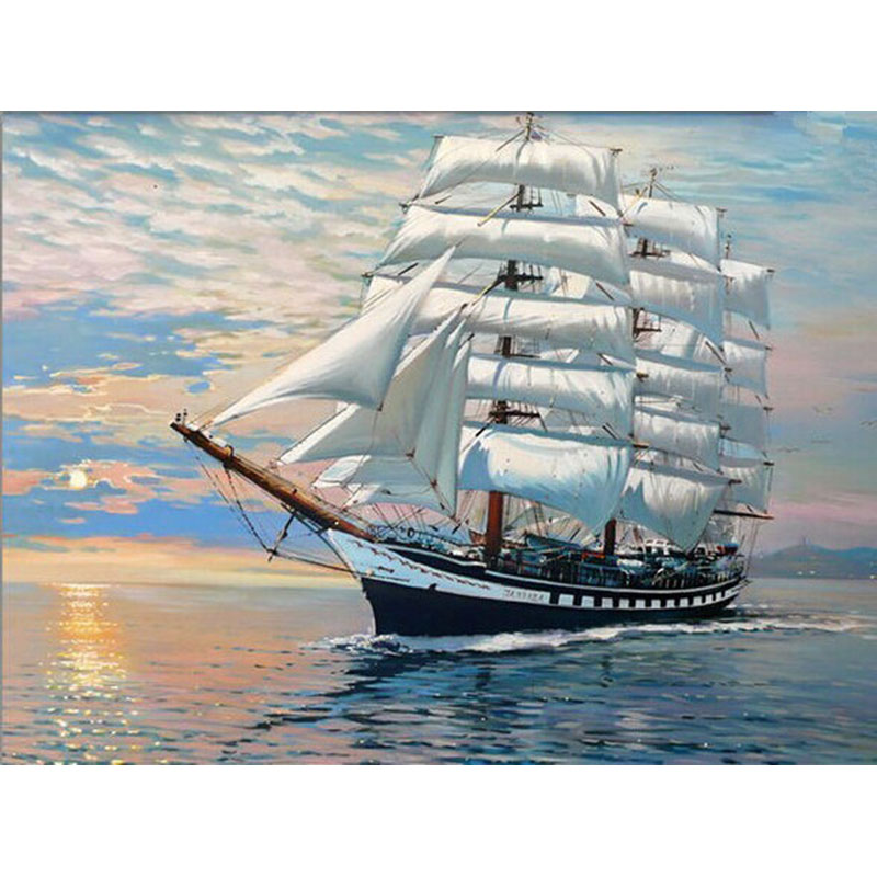 Barco sin marco Seascape Diy Digital pintura By Numbers Home Wall Art Decor lienzo moderno pintura para regalo único 40x50 cm