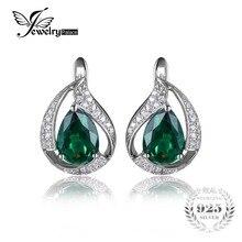 JewelryPalace 1.7ct Nano Ruso Encanto Gota de Agua Verde Esmeralda Pendientes de Clip Para Las Mujeres Joyería de Plata Esterlina del Sólido 925