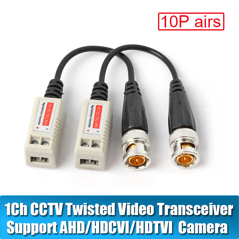 20pcs AHD/CVI/TVI Twisted BNC CCTV Video Balun passive Transceivers UTP Balun BNC Cat5 CCTV UTP Video Balun up to 3000ft Range 1pairs high quality cctv via twisted pairs transmitter hd cvi tvi ahd passive video balun male cable bnc to utp cat5e 6