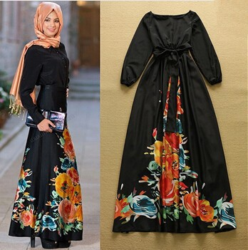 69fbf54491c New 2015 Women Summer Style Black Maxi Dress Long Sleeve O-neck Vintage Flower  Print Long Dress boho vestidos